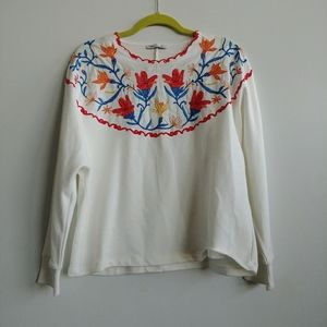 Zara oversized  embroidered white sweatshirt